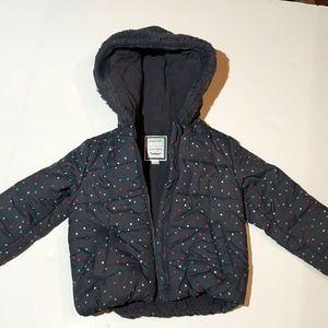 Gymboree gray polks dot hooded zip coat size 4T